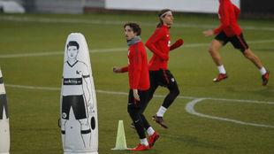 Vrsaljko y Filipe, en un entrenamiento del Atlético esta temporada.