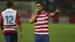 Pedro celebra un gol esta temporada.