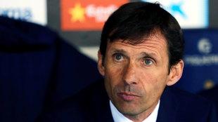 El entrenador del Athletic de Bilbao, Ziganda, durante el partido...