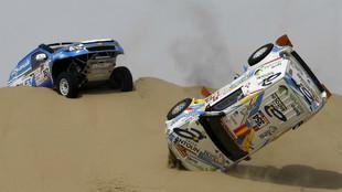 Cristina Gutierrez en un accidente durante el Dakar.