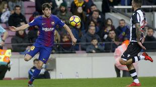 Sergi Roberto, durante un partido esta temporada.