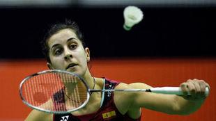 Carolina Marín, durante el partido.