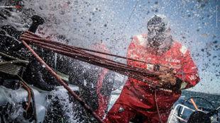 El Vestas, en plena faena durante una de las etapas de la VOLVO Ocean...