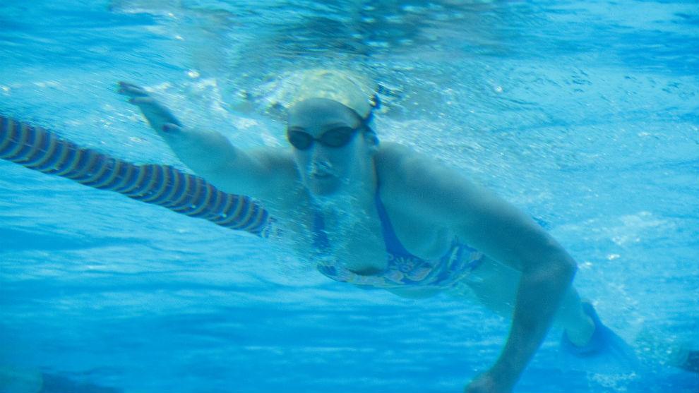 Imagen submarina de Belmonte mientras se entrena