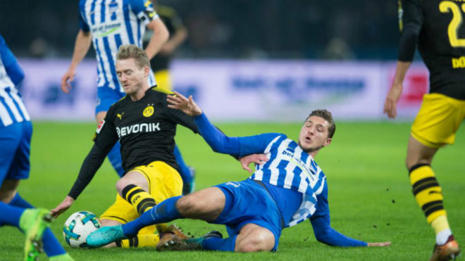 Dortmund play to 1-1 draw at Hertha, again without Aubameyang