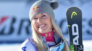 Lindsey Vonn, tras ganar el descenso.