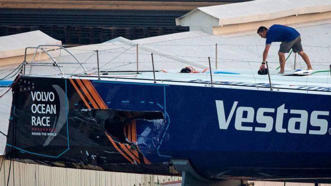 Así ha quedado el casco del Vestas tras el accidente