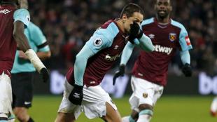Chicharito celebra el gol contra el Bournemouth