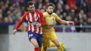 Lucas Hernández en el partido contra el Girona