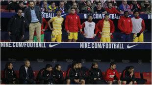 Los banquillos de Girona y Atlético, en el minuto 90.