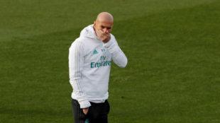 Zidane, durante un entrenamiento en Valdebebas
