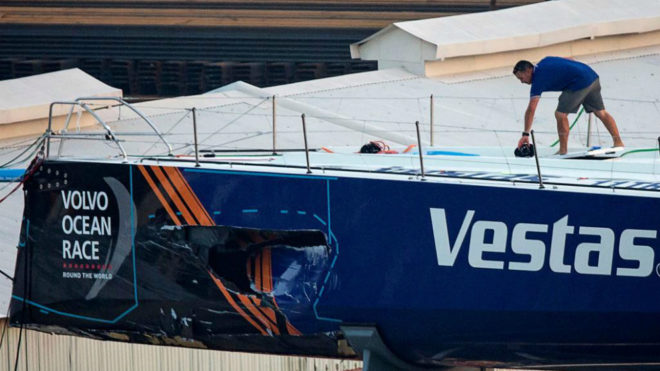 Así quedó el casco del Vestas tras el choque.