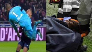 El choque contra Lopes y la salida de Mbappé en camilla.