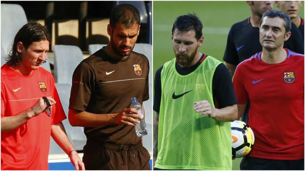 Guardiola hablando con Messi en su primera temporada; Valverde,...