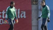 Diego López y Pau López, durante un entrenamiento.