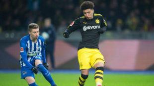 Jadon Sancho dio su primera asistencia ante el Hertha
