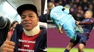 Mbappé salió en camilla en el partido ante el Lyon