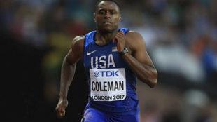 Coleman durante las series de los 100 metros del Mundial de Londres.