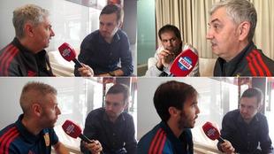 Pablo Parra y Óscar García junto a José Venancio López, Miguelín...
