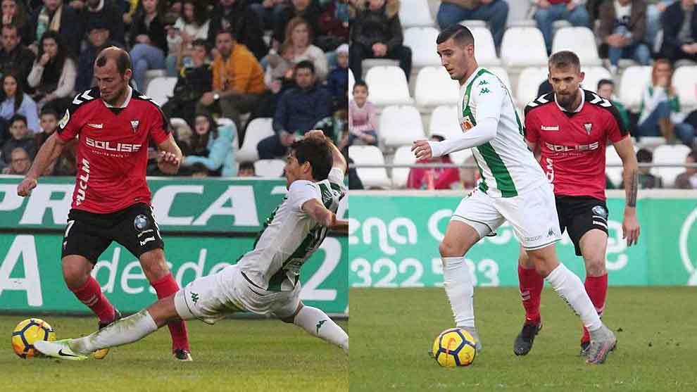 Zozulia y Sergi Guardiola, durante el Córdoba-Albacete del pasado...