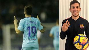 Carles Pérez celebra uno de sus goles en el Heliodoro / Posa con el...