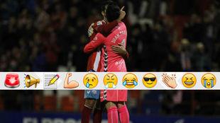 Bernardo abraza a Juan Carlos tras anotar el portero un golazo desde...