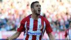 Koke celebra uno de sus goles al Sevilla en el Calderón.
