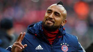 Arturo Vidal previo al partido de la Bundesliga ante el Werder Bremen.