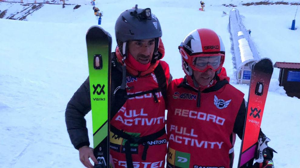 Luis Alberto Hernando y Javier Olave antes del comienzo de la prueba.
