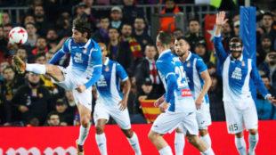 Jugadores del Espanyol en el Camp Nou.