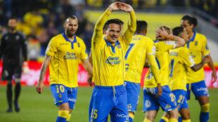 Roque Mesa celebrando un gol con Las Palmas