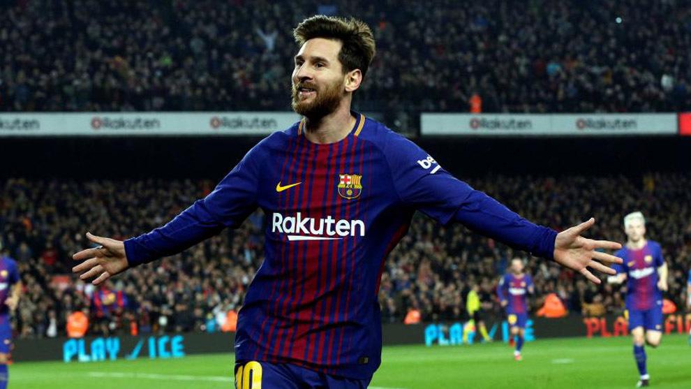 Leo Messi celebra su gol contra el Espanyol