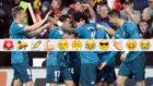 Los jugadores del Madrid celebran el gol de Marcelo
