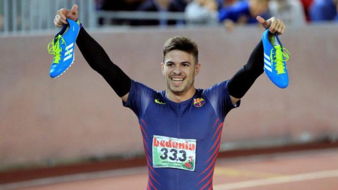Óscar Husillos tras batir el récord español de los 300 metros en...