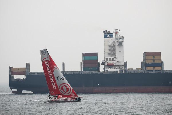 Dongfeng, ganador final de la costera de Hong Kong, en plena regata