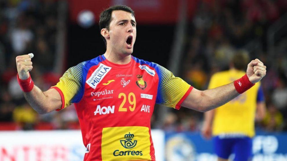 Aitor Ariño celebra un gol ante Suecia en la final