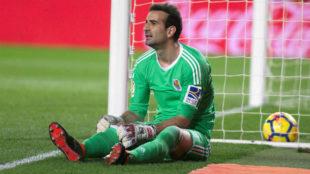 Toño tras encajar uno de los cuatro goles del Villarreal