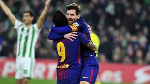 Messi y Suárez celebran un tanto del Barça.