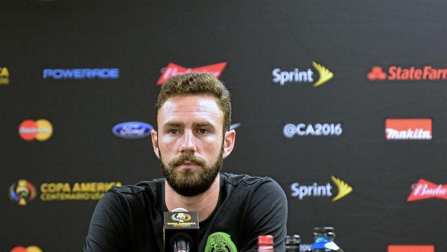 Layún, en una rueda de prensa en la Copa Confederaciones.