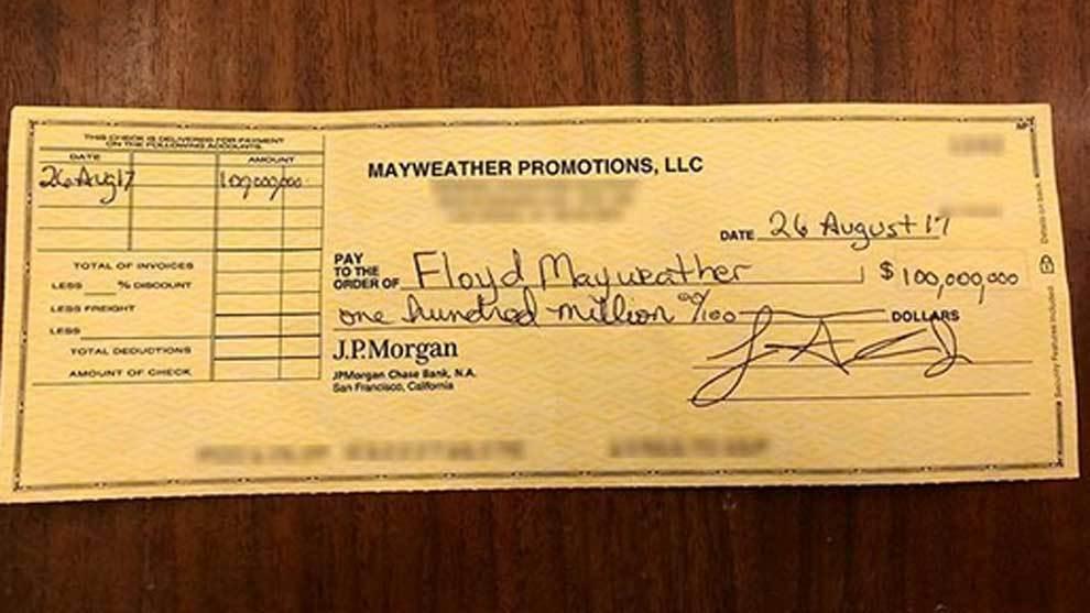 El cheque de 100 millones de dólares que Mayweather ha publicado en...