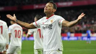 Muriel celebra el gol que le marcó al Getafe