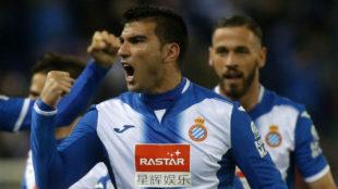 Reyes celebra un gol con el Espanyol.