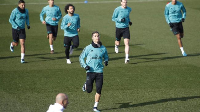 Cristiano Ronaldo, durante un entrenamiento del Real Madrid.