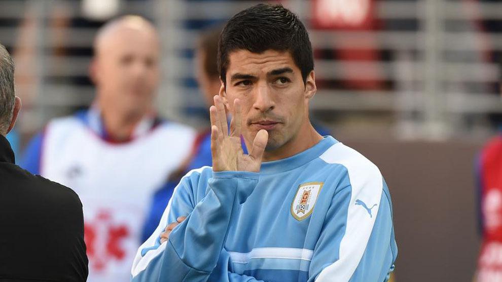 Luis Suárez, en un partido de Uruguay