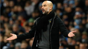Guardiola, durante el City-West Brom