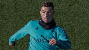 Cristiano, en un entrenamiento.