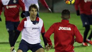 Flamini en un entrenamiento con el Getafe el pasado mes de diciembre.