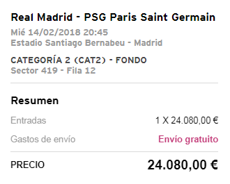 Champions League - Real Madrid vs PSG: Resale tickets for Real