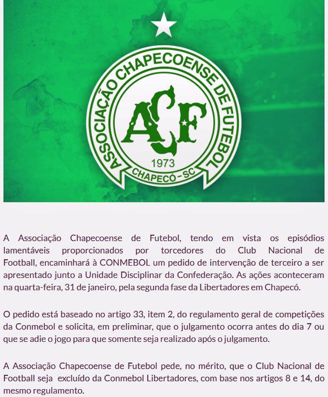 Comunicado del Chapecoense en el que pide a la Conmebol la expulsión...