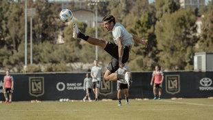 Carlos Vela, en un entrenamiento de Los Angeles Football Club